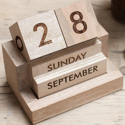 Mango Wood Desk Calendar