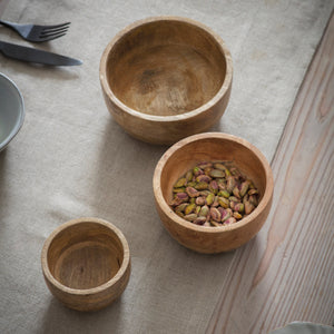Midi Mango Wood Bowls - Set of 3