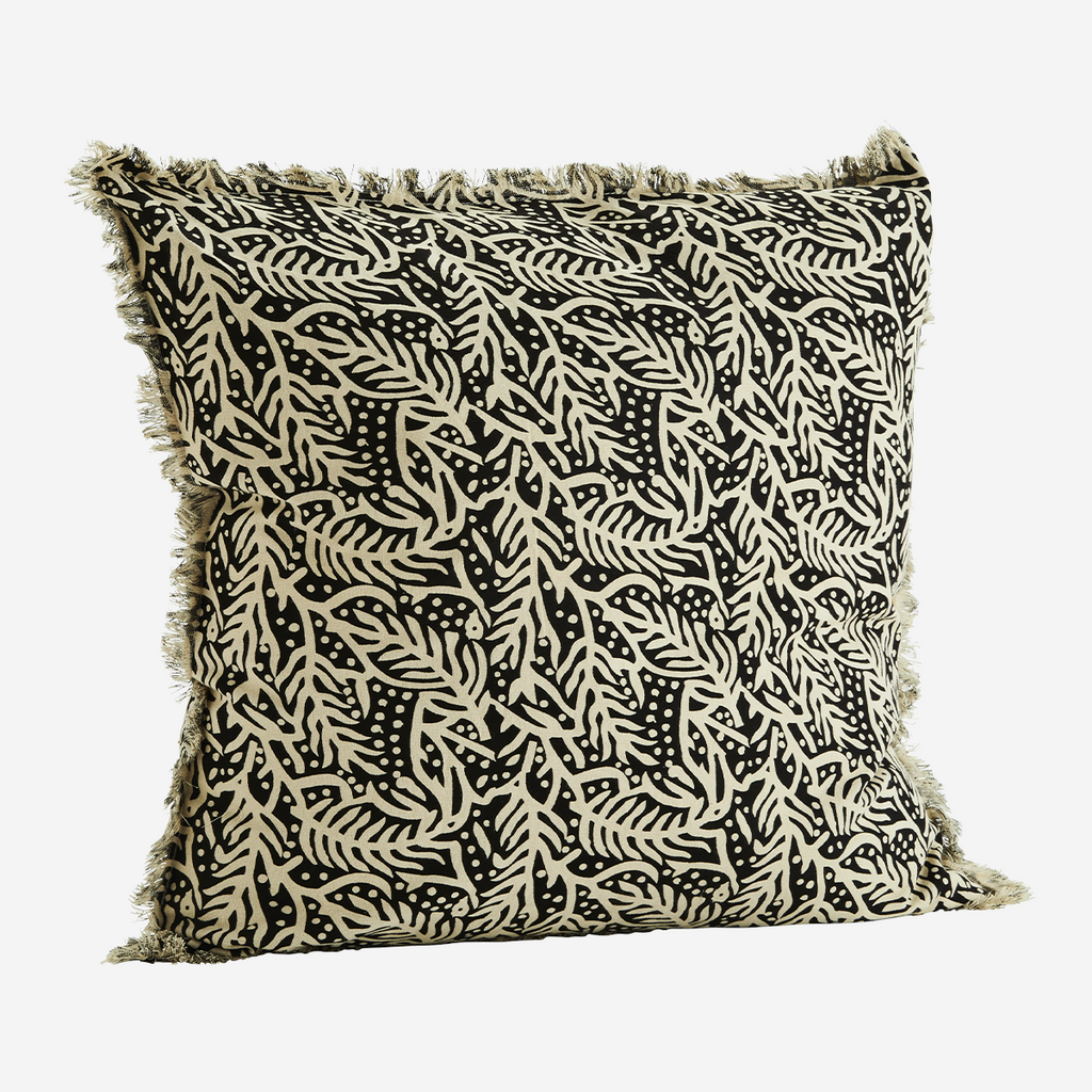 Abstract Leaf Printed Cotton Cushion