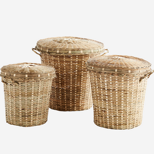 Baba Bamboo Lidded Basket - Assorted