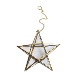 Ant. Brass Glass Star Small