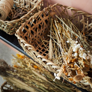Rustic Bamboo Tray Basket - Assorted