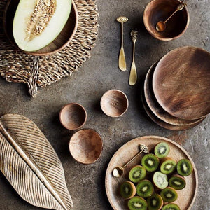 Dark Mango Wood Collection - Serving Plate, Bowl & Spoons