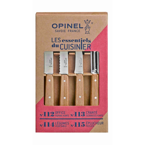 Opinel Essential 4pc Beech Knife Set