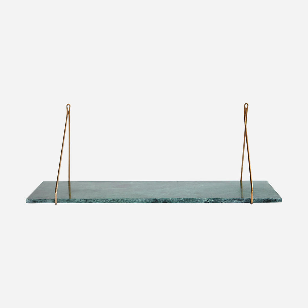 Astro Green Marble Shelf - Brass Brackets