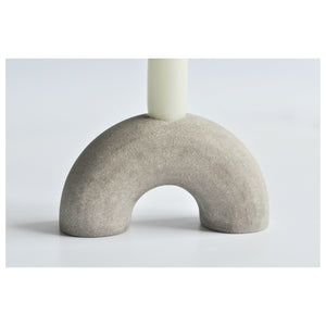 Textured Arched Candle Holder Warm Grey