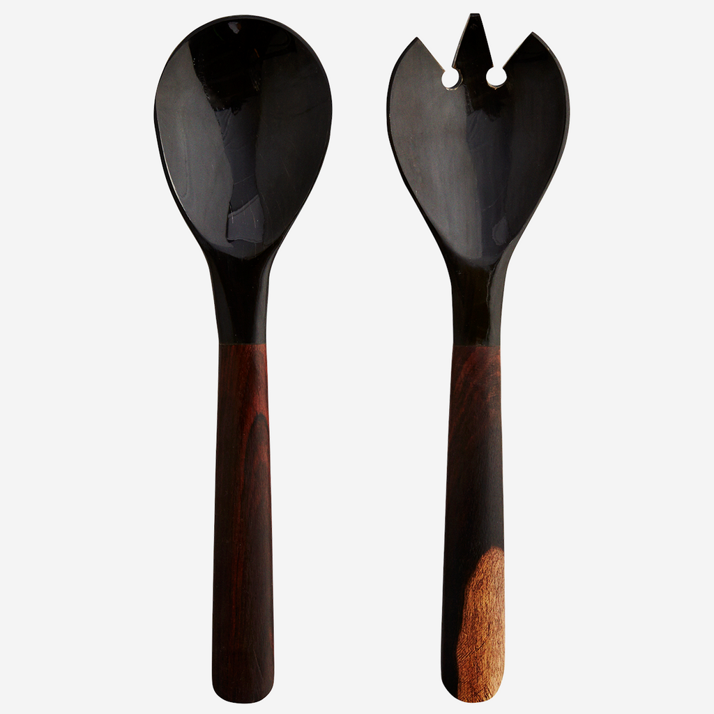 Savvo Mango Wood & Horn Salad Server Set