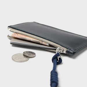 Simple Coin Pouch with Lanyard Navy
