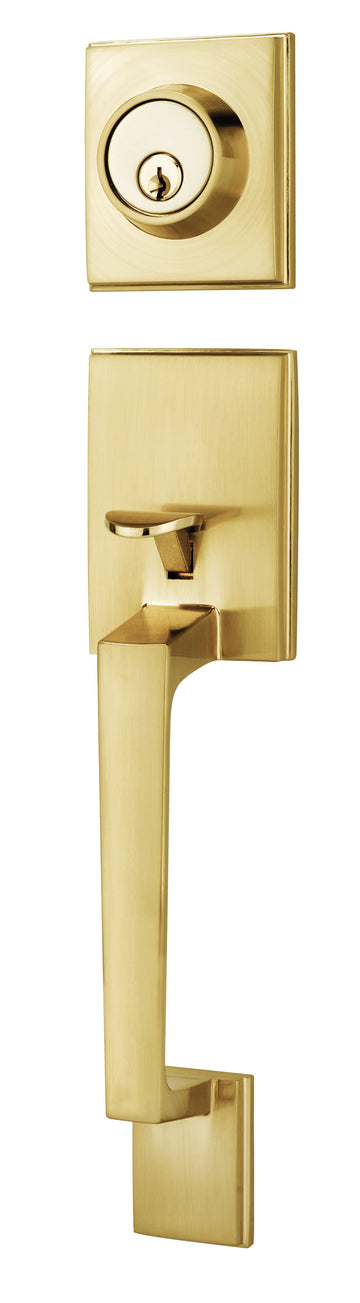 #8585-POLISHED BRASS SQUARE HANDLESET