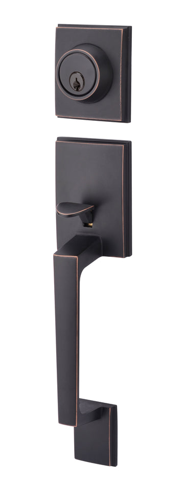 #8586-OIL RUBBED BRONZE SQUARE HANDLESET