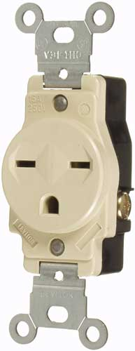 15A/250V SINGLE GROUNDING OUTLET - IVORY