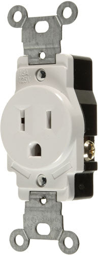 15A/125V SINGLE GROUNDING OUTLET - WHITE