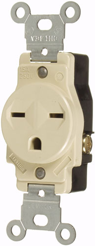 15A/250V SINGLE GROUNDING OUTLET - WHITE