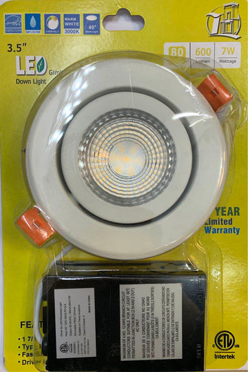 3.5'' LED POT LIGHT 3000K (ADJUSTABLE ANGLE) WITH JUNCTION BOX
