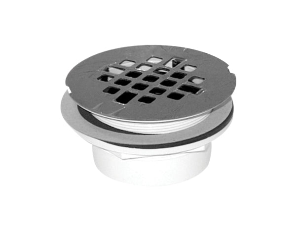 "2'' ABS SHOWER DRAIN WITH STAINLESS STEEL GRID ""QUICK CAULK"""