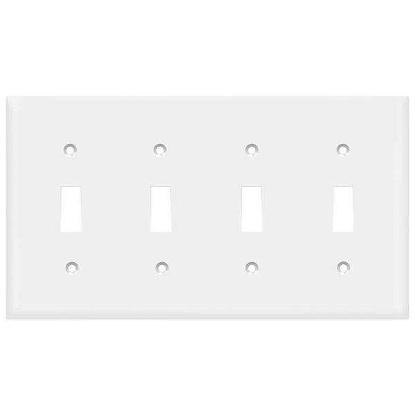 4-GANG TOGGLE SWITCH PLATE - WHITE