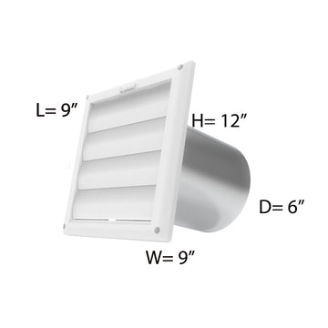 6'' VENT HOOD WITH WHITE CAP