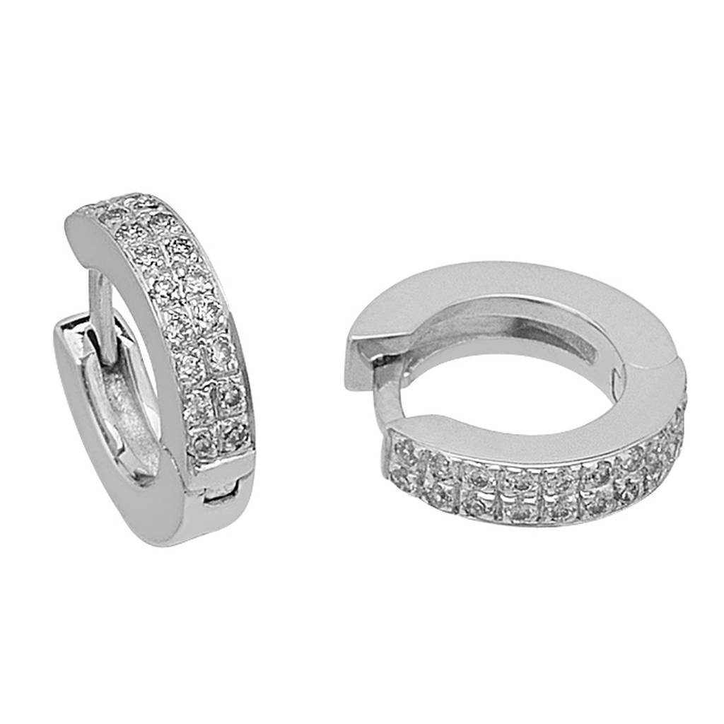 Double Lined Diamond Hoop Earrings
