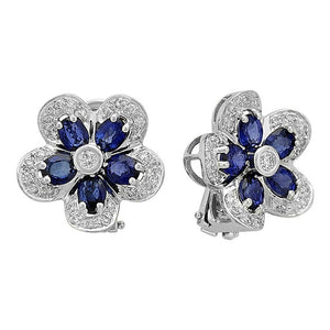 Diamond and Oval Sapphire Stone Violet Earrings