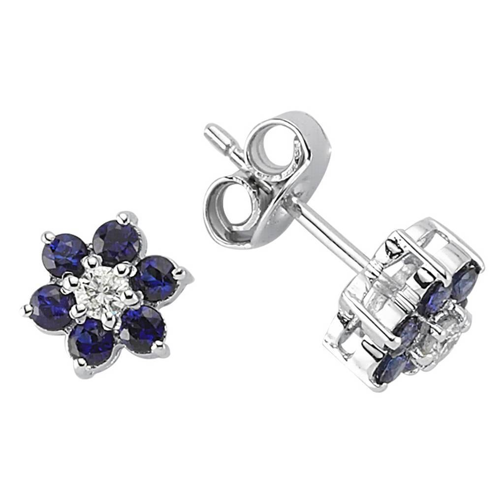 Sapphire and Diamond Daisy Shaped Earrings