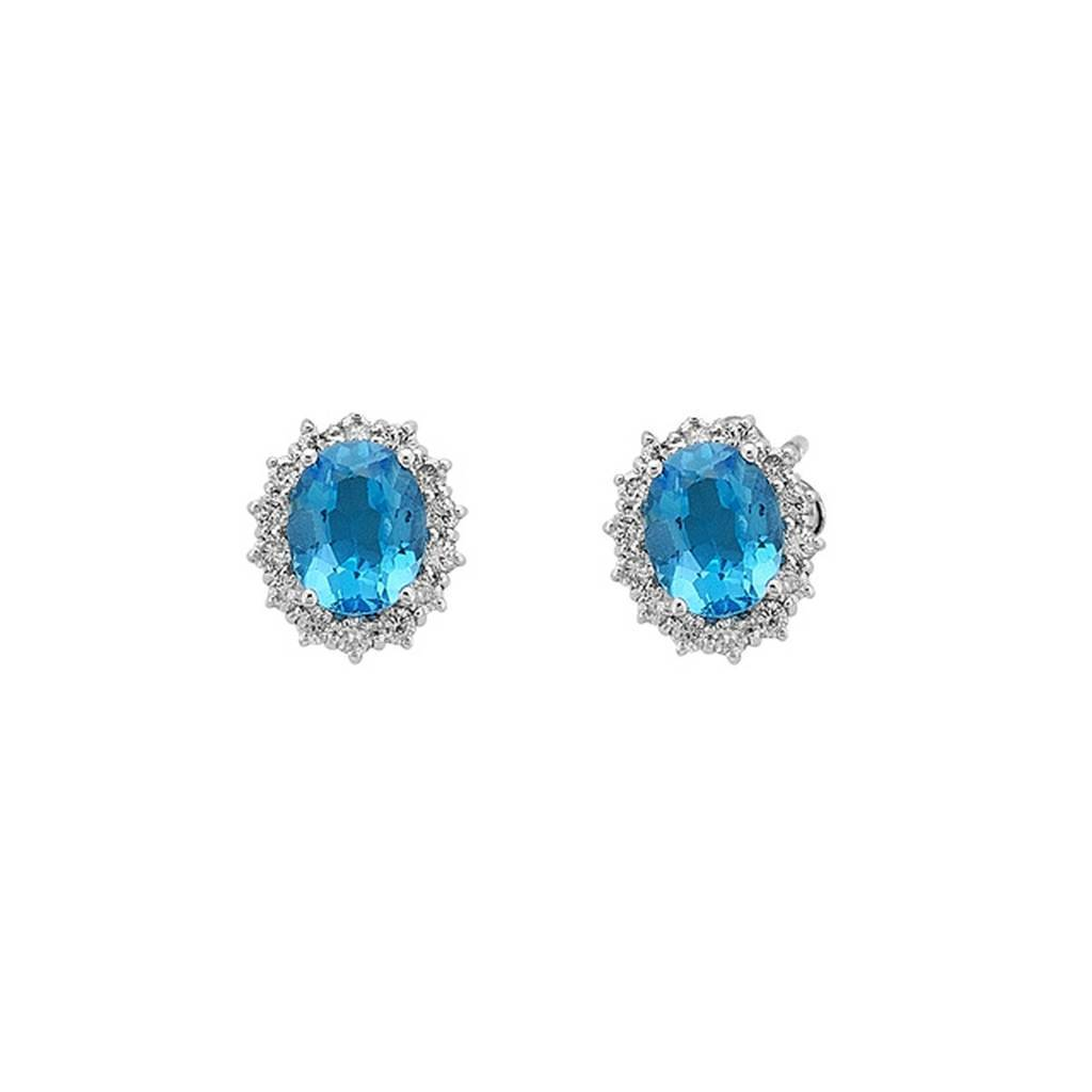 Diamond and Oval Blue Topaz Stone Large Earrings