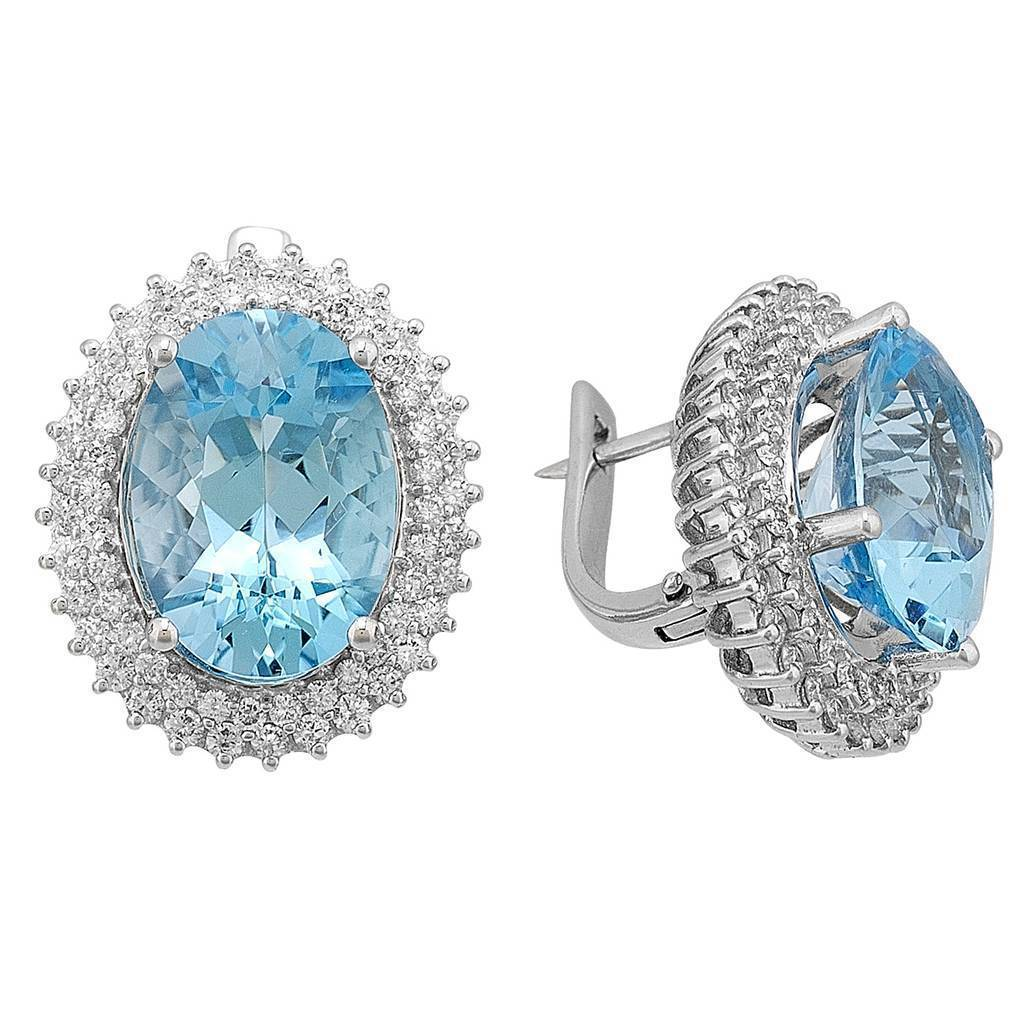 Diamond and Oval Blue Topaz Stone Earrings