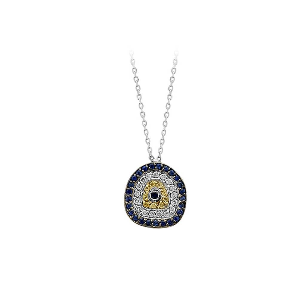 Sapphire and Diamond Stone Evil Eye Necklace