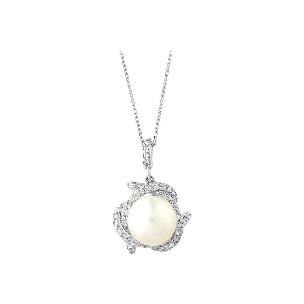Diamond and Drop Pearl Necklace