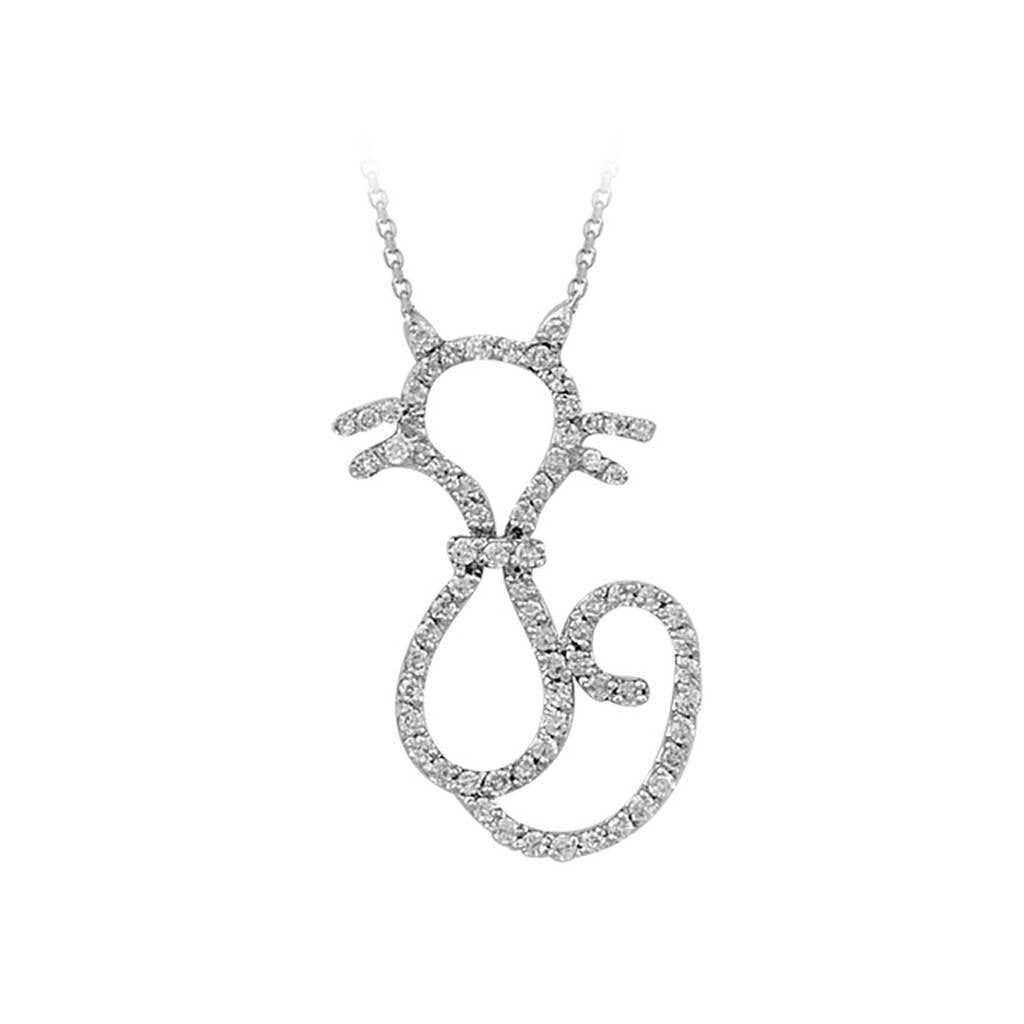 Diamond Stone Cat Necklace