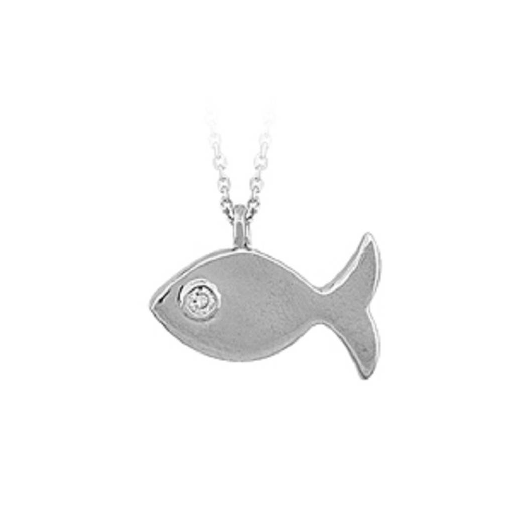 Diamond Stone Fish Necklace