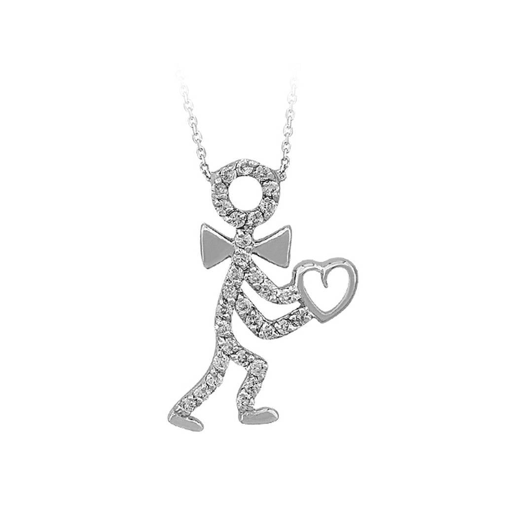 Diamond Stone Stickman With Heart Necklace