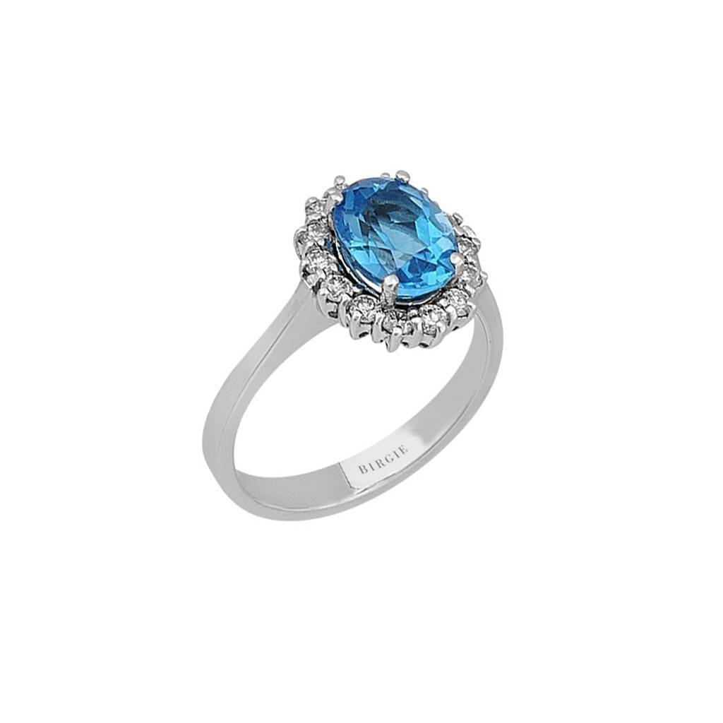 Diamond and Oval Blue Topaz Ring