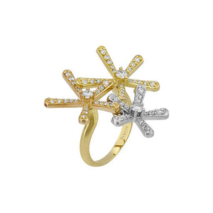 Diamond Stone 3 Color Gold Ring