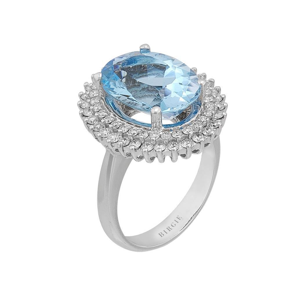Oval Blue Topaz and Diamond Side Stones Double Cluster Ring