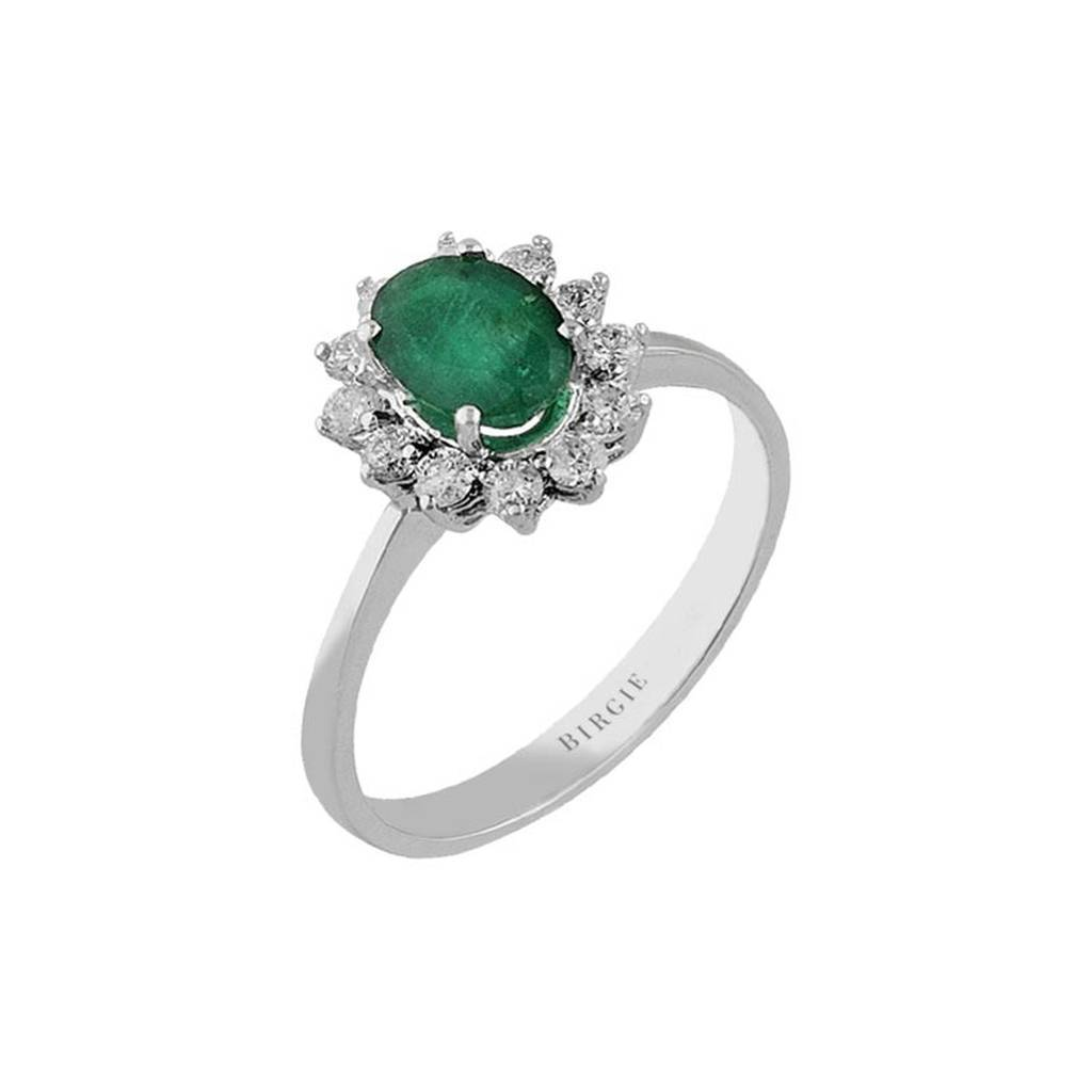 Emerald and Diamond Stone Ring