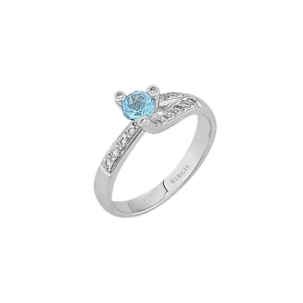 Blue Topaz Stone Diamond Ring