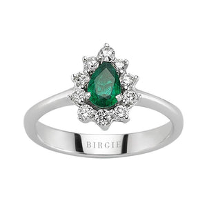 Drop Shape Emerald and Diamond Side Stones Entourage Ring