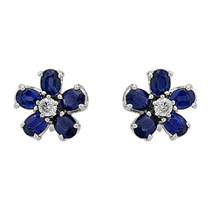 Oval Sapphire and Diamond Stone Violet Earrings