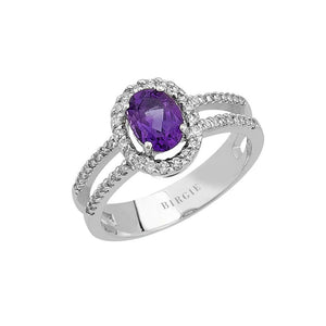 Diamond and Oval Amethyst Stone Ring