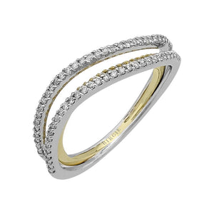 Two Tone Twisted Fancy Diamond Wedding Ring