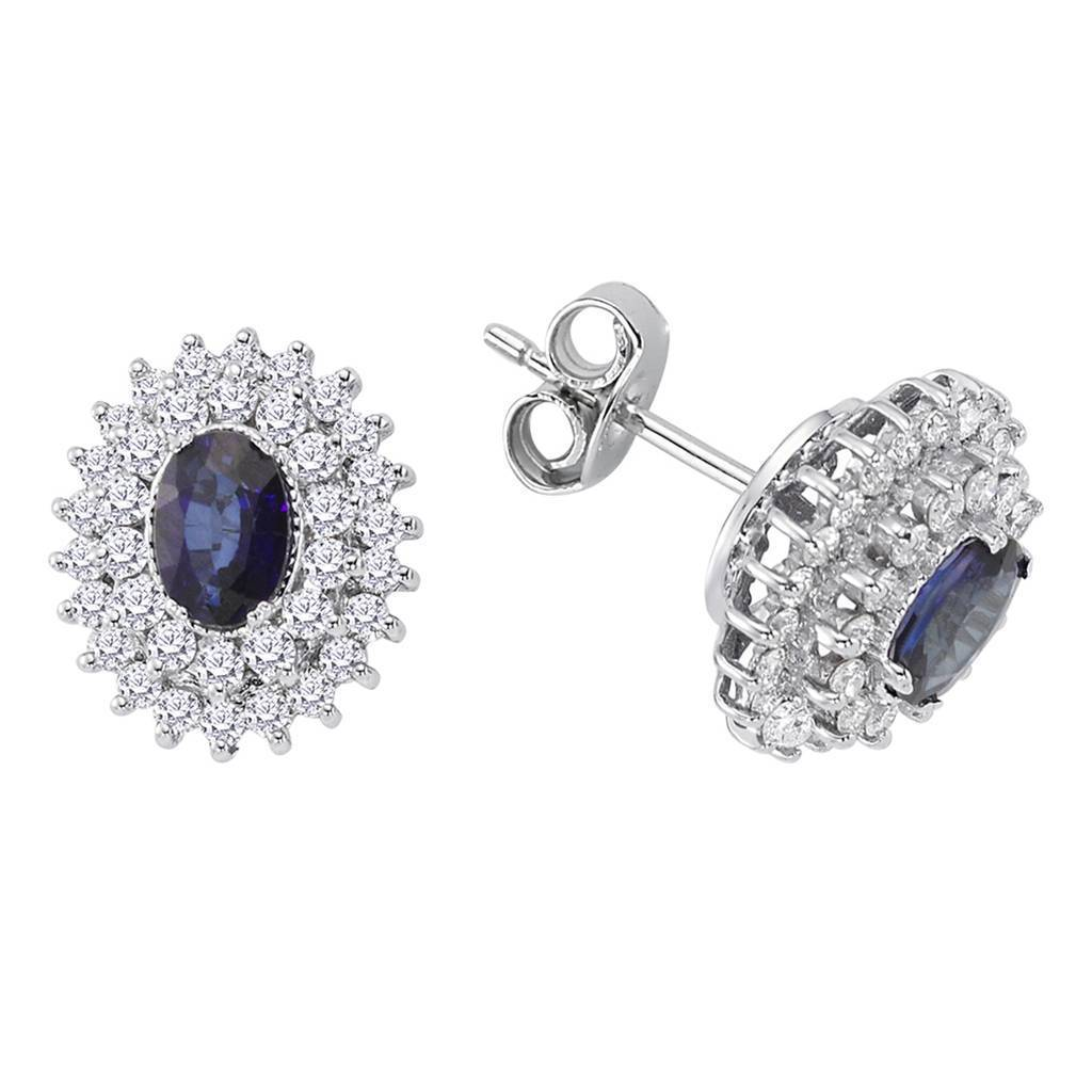 Twin Line Diamond and Oval Cut Sapphire Earrings