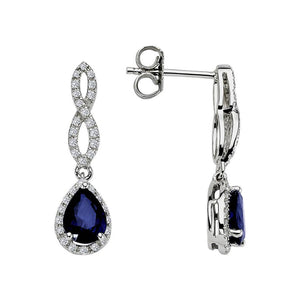 Diamond and Drop Cut Sapphire Earrings