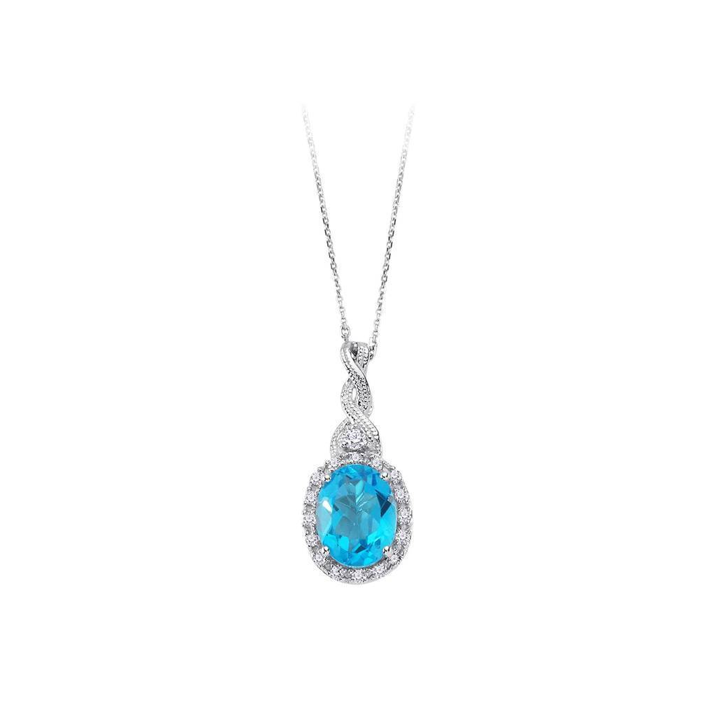 Diamond and Oval Cut Blue Topaz Ivy Necklace