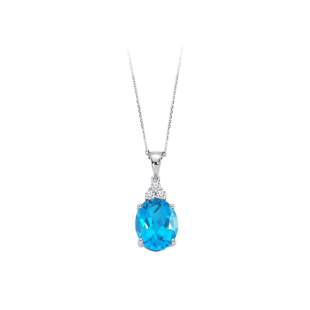 Diamond and Oval Cut Blue Topaz Necklace