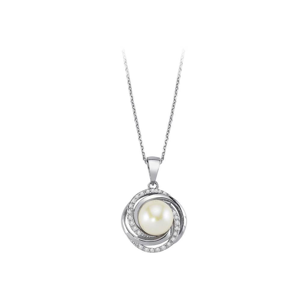 Diamond and Pearl Spiral Necklace