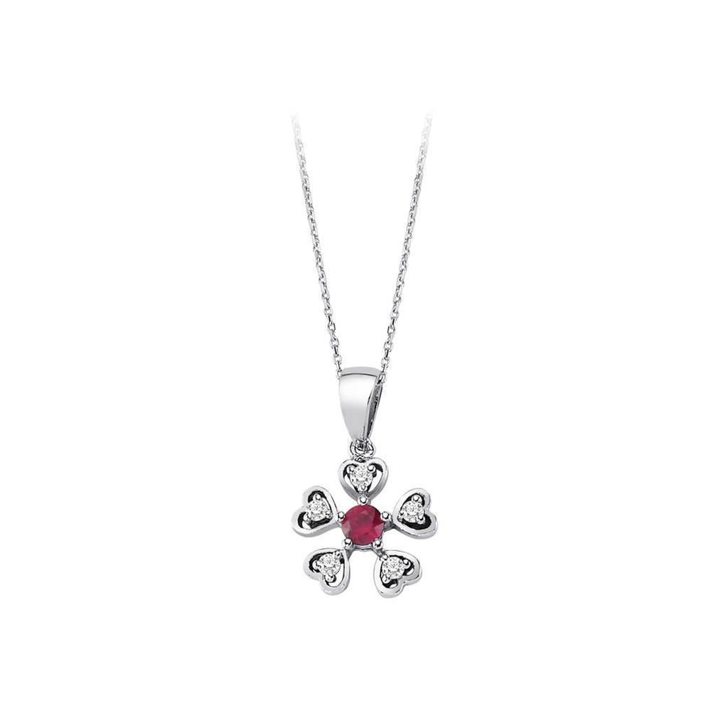 Diamond and Ruby Flower Heart Design Necklace