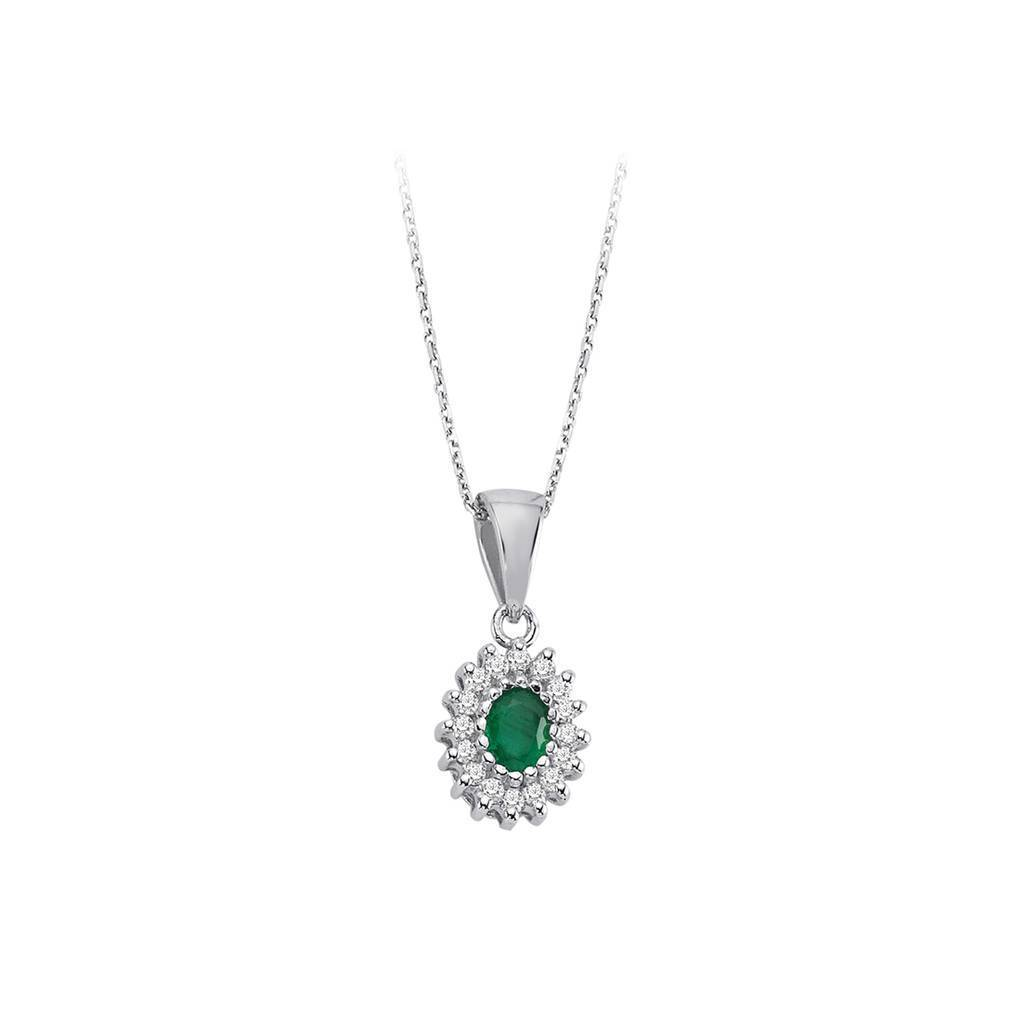 Diamond and Oval Cut Emerald Entourage Necklace