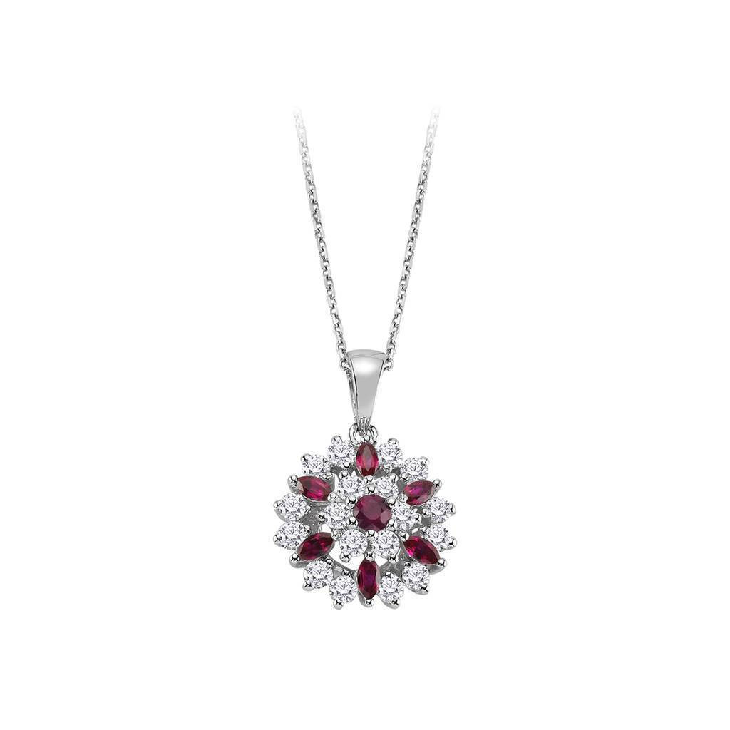 Lily Design Diamond and Marquise Cut Ruby Necklace