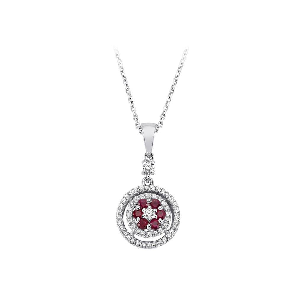Twin Line Diamond and Ruby Flower Necklace