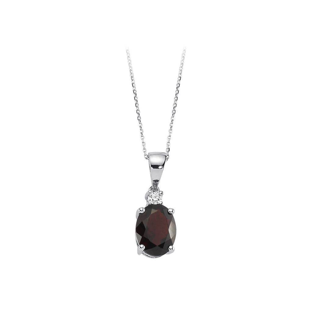 Diamond and Oval Cut Garnet Necklace